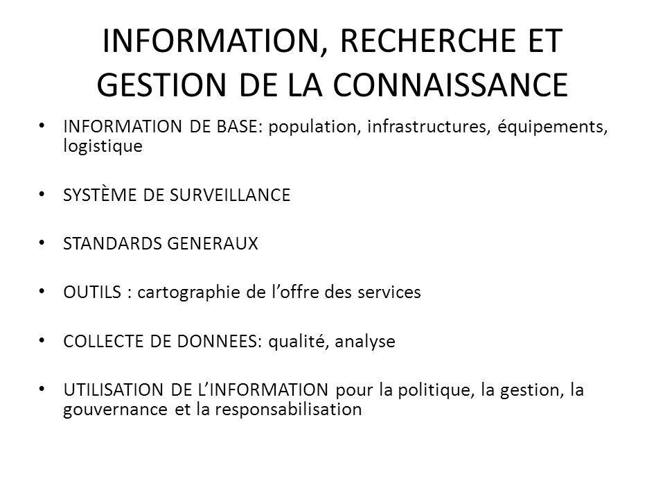 INFORMATION, RECHERCHE ET GESTION DE LA CONNAISSANCE