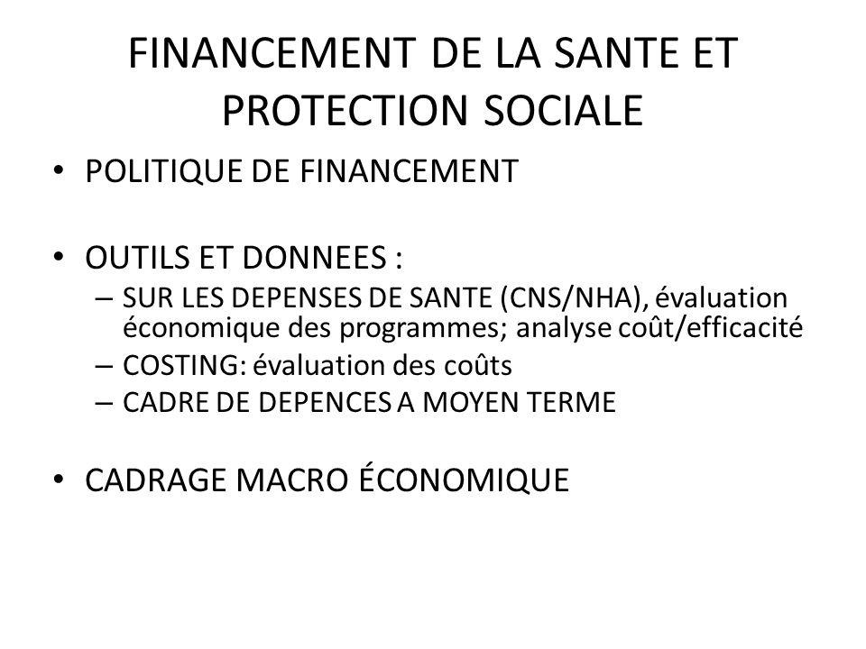 FINANCEMENT DE LA SANTE ET PROTECTION SOCIALE