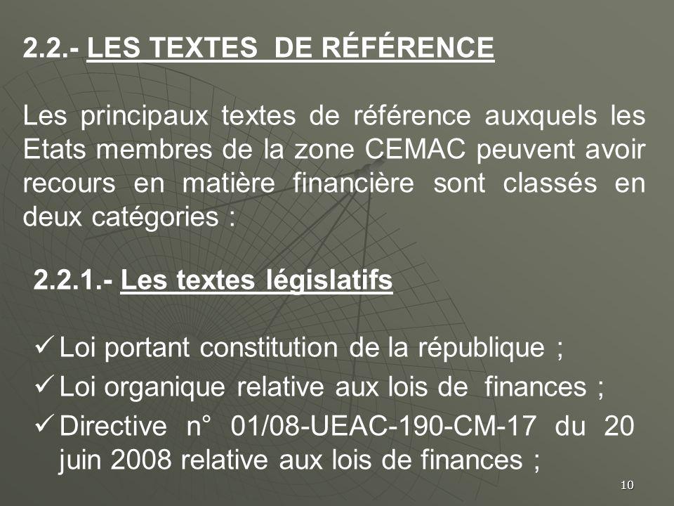 2.2.- Les textes de référence