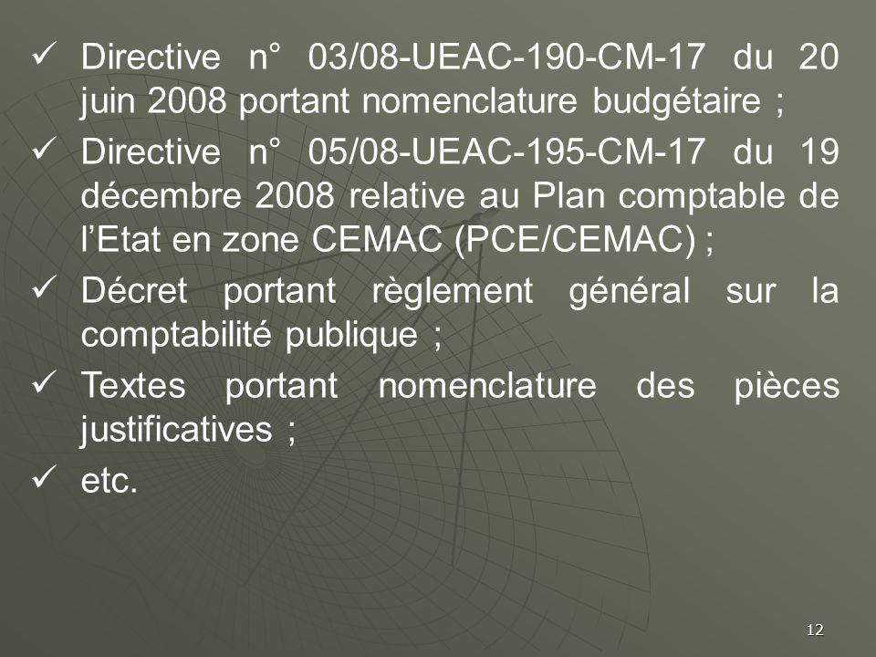 Directive n° 03/08-UEAC-190-CM-17 du 20 juin 2008 portant nomenclature budgétaire ;