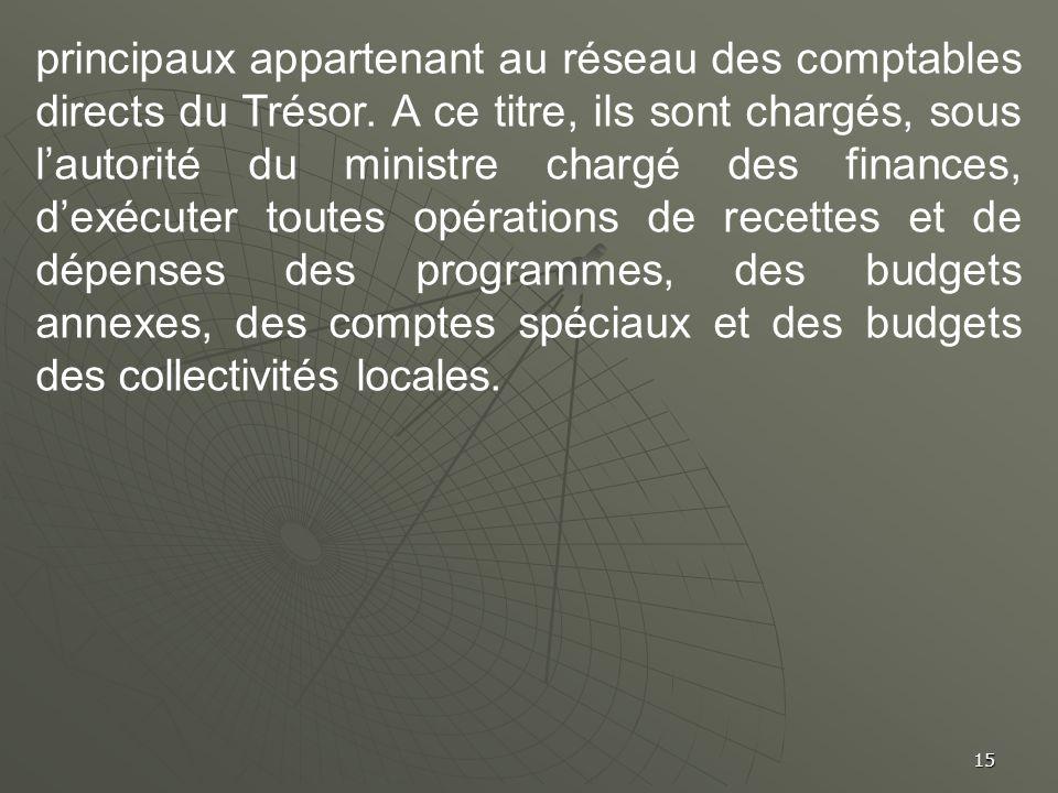 principaux appartenant au réseau des comptables directs du Trésor