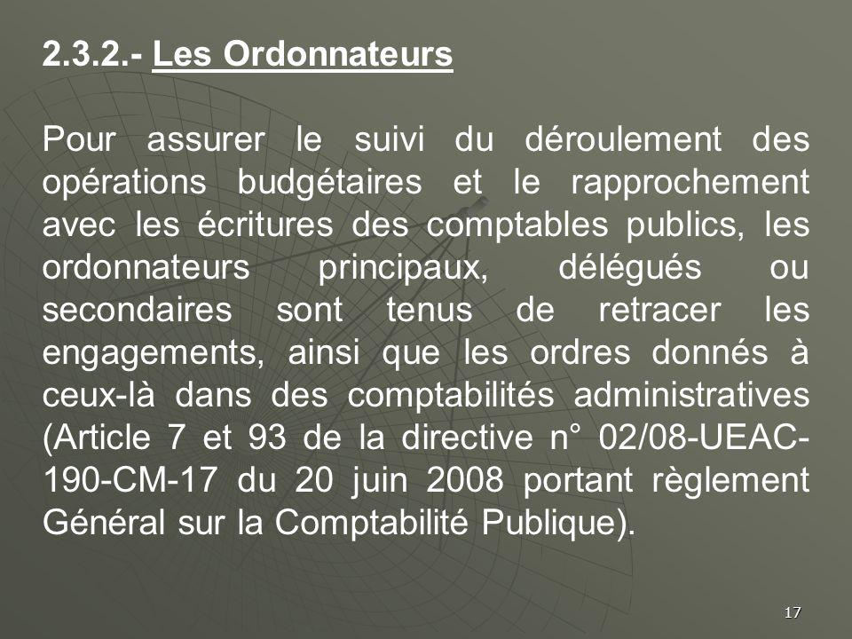 2.3.2.- Les Ordonnateurs