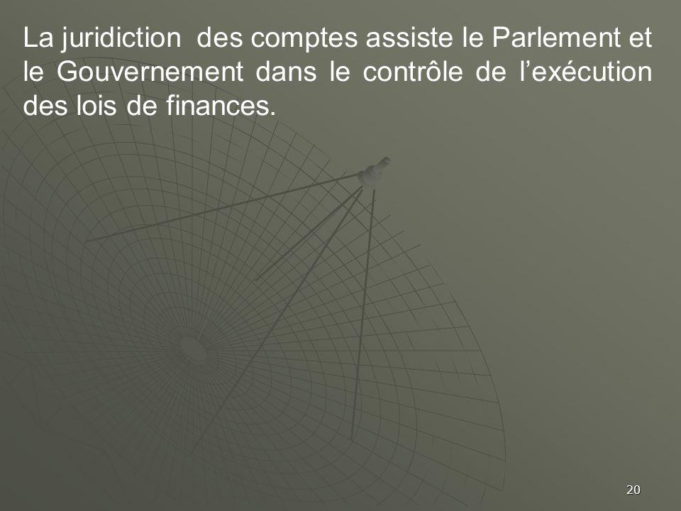 La juridiction des comptes assiste le Parlement et le Gouvernement dans le contrôle de l'exécution des lois de finances.