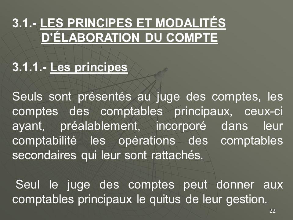 3.1.- Les principes et modalités d élaboration du compte