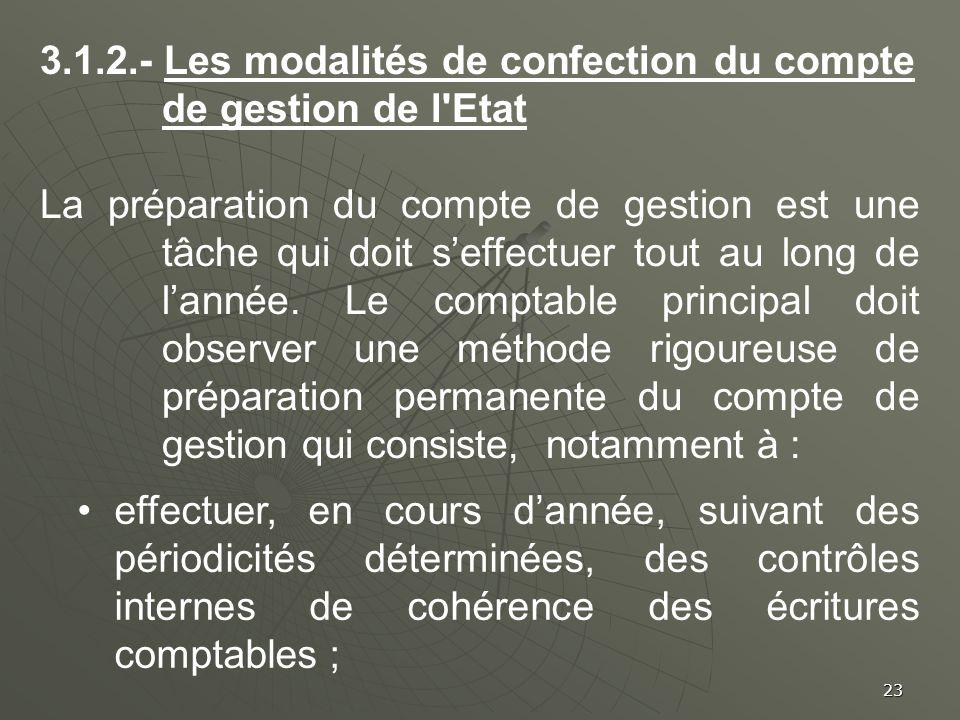 3.1.2.- Les modalités de confection du compte de gestion de l Etat