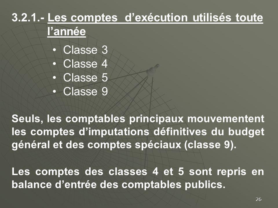 3.2.1.- Les comptes d'exécution utilisés toute l'année Classe 3