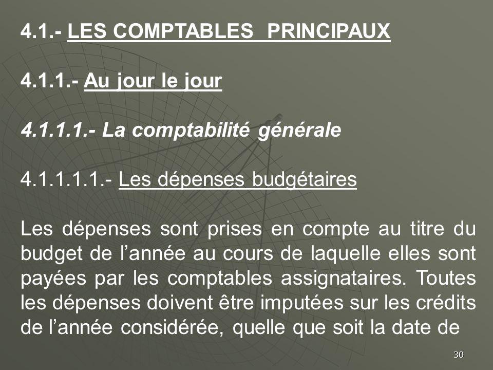 4.1.- LES COMPTABLES PRINCIPAUX