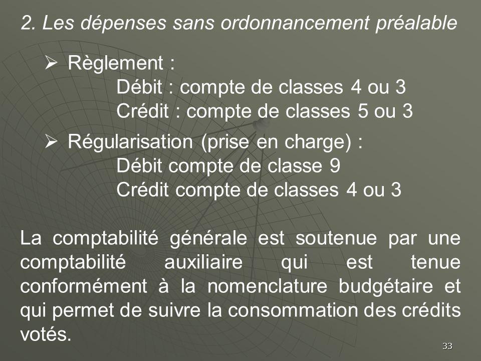 2. Les dépenses sans ordonnancement préalable