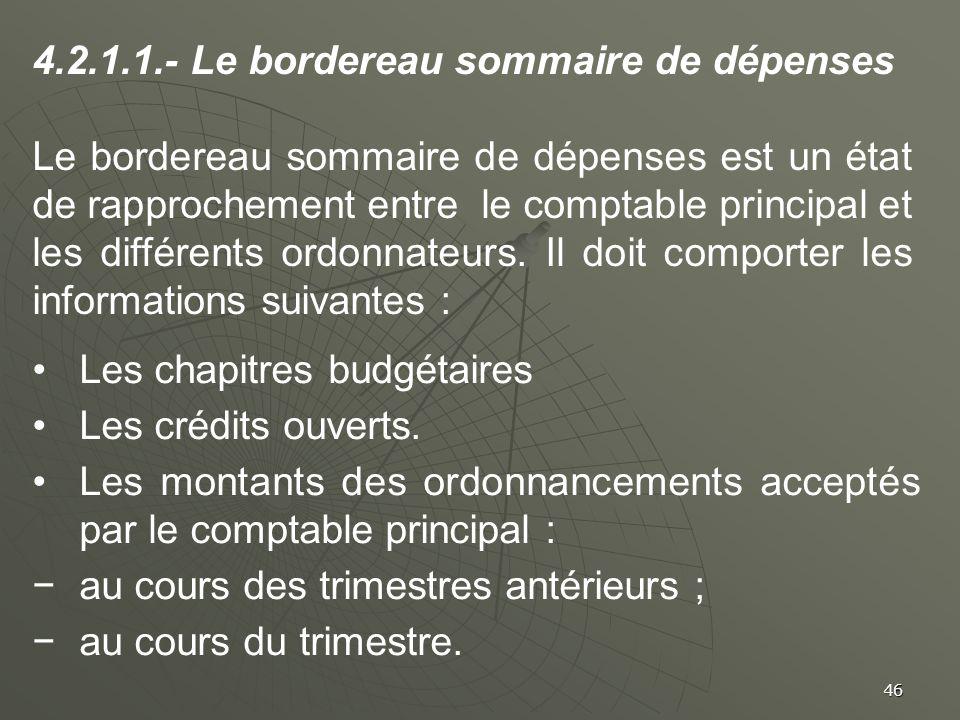 4.2.1.1.- Le bordereau sommaire de dépenses