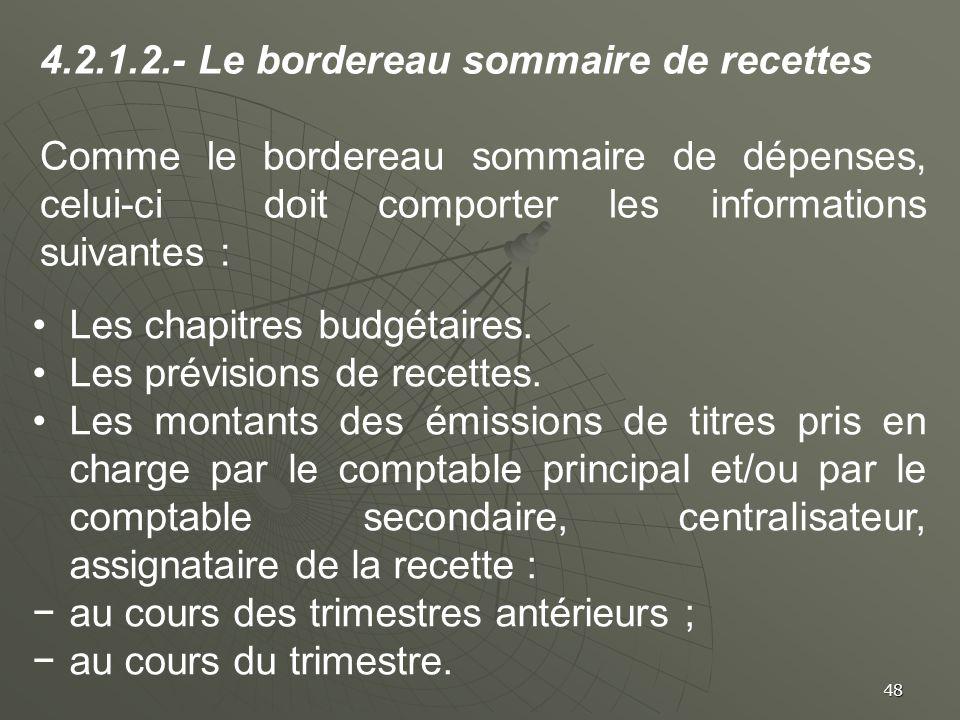 4.2.1.2.- Le bordereau sommaire de recettes