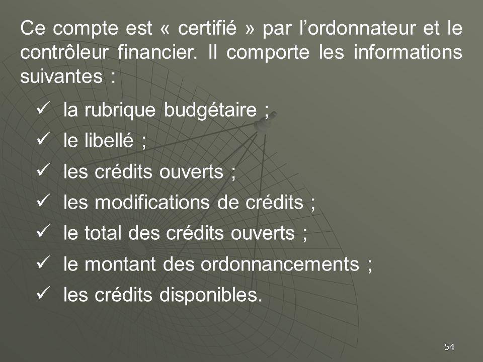 Ce compte est « certifié » par l'ordonnateur et le contrôleur financier. Il comporte les informations suivantes :
