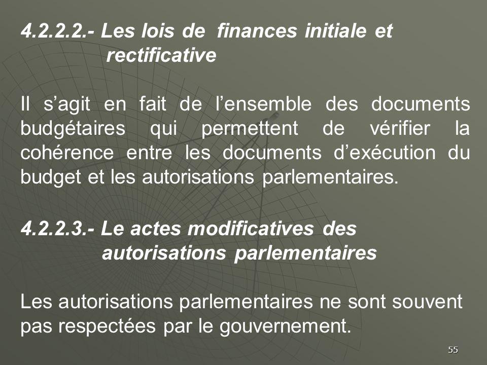 4.2.2.2.- Les lois de finances initiale et rectificative
