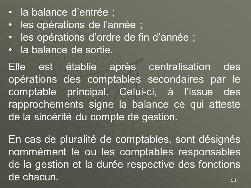 la balance d'entrée ; les opérations de l'année ; les opérations d'ordre de fin d'année ; la balance de sortie.