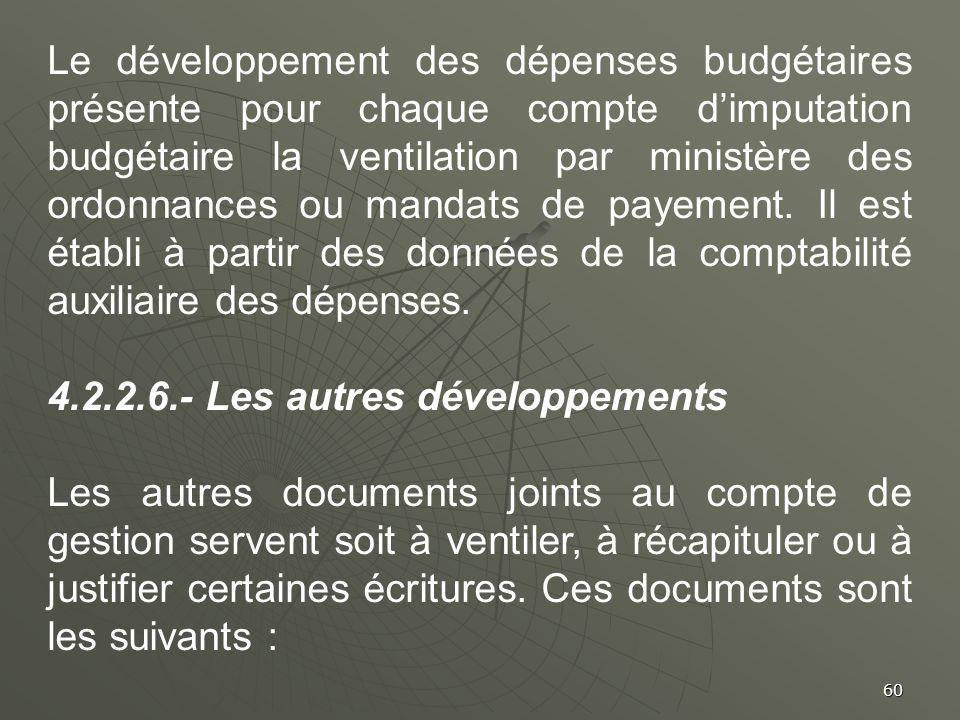 Le développement des dépenses budgétaires présente pour chaque compte d'imputation budgétaire la ventilation par ministère des ordonnances ou mandats de payement. Il est établi à partir des données de la comptabilité auxiliaire des dépenses.