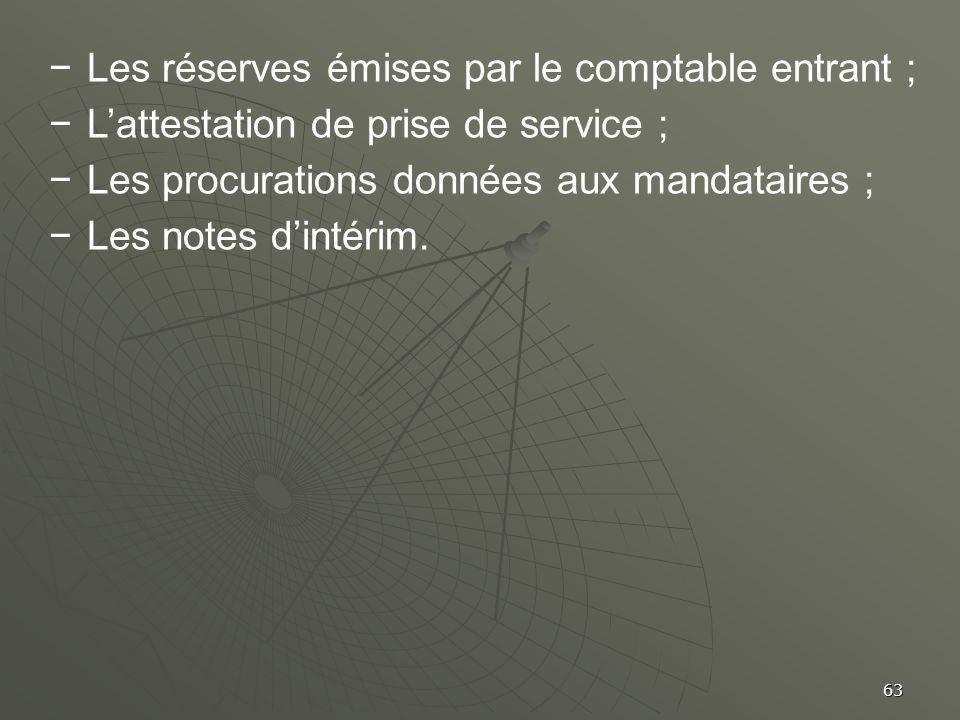 Les réserves émises par le comptable entrant ;