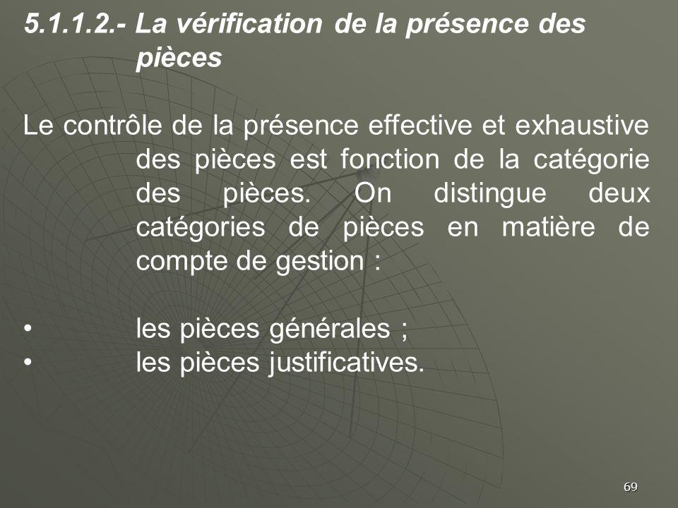 5.1.1.2.- La vérification de la présence des pièces