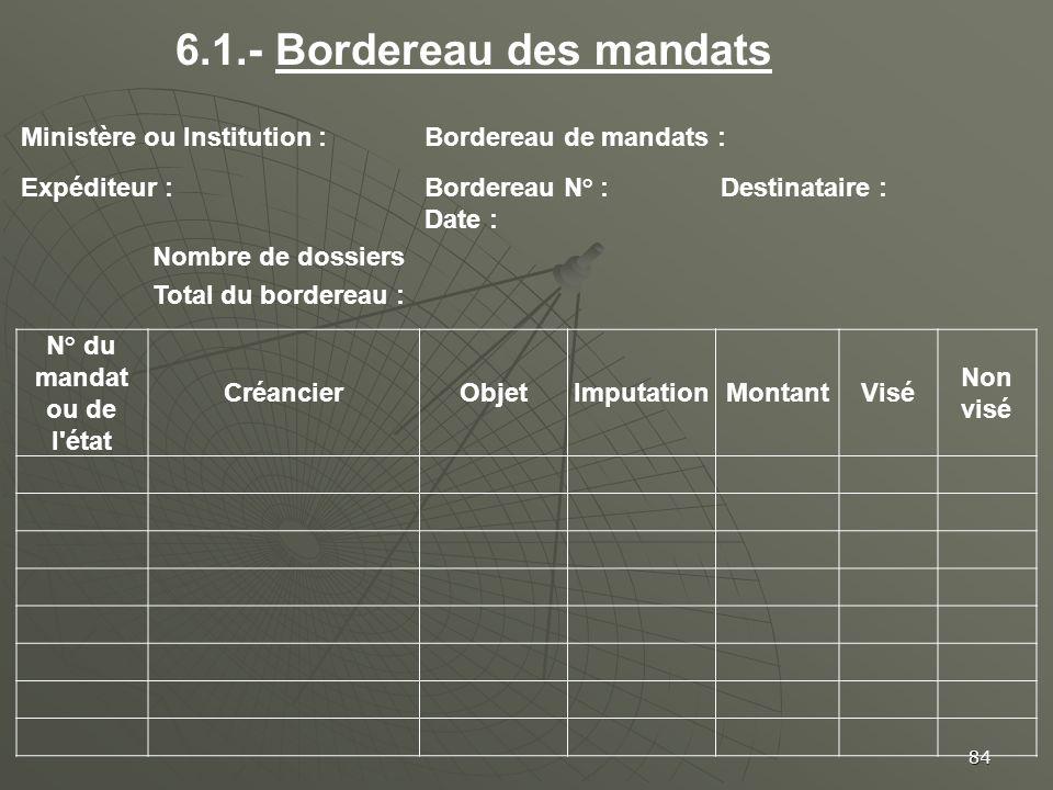 6.1.- Bordereau des mandats