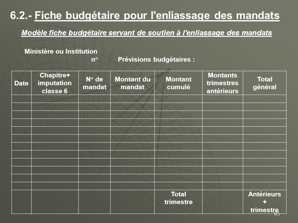 6.2.- Fiche budgétaire pour l enliassage des mandats