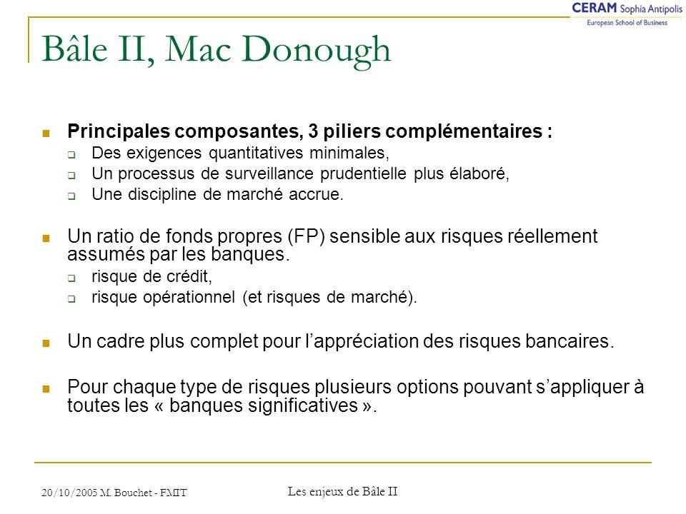 Bâle II, Mac Donough Principales composantes, 3 piliers complémentaires : Des exigences quantitatives minimales,