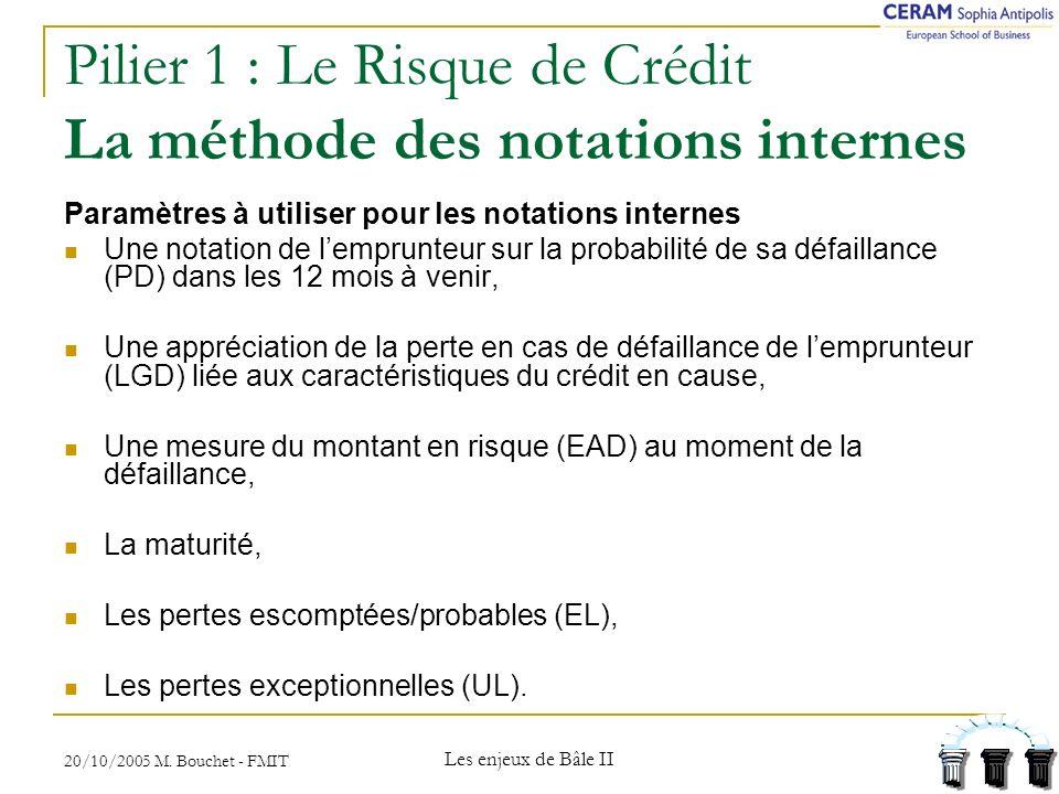 Pilier 1 : Le Risque de Crédit La méthode des notations internes