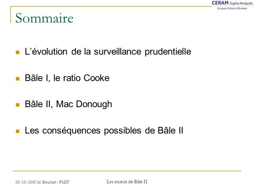 Sommaire L'évolution de la surveillance prudentielle