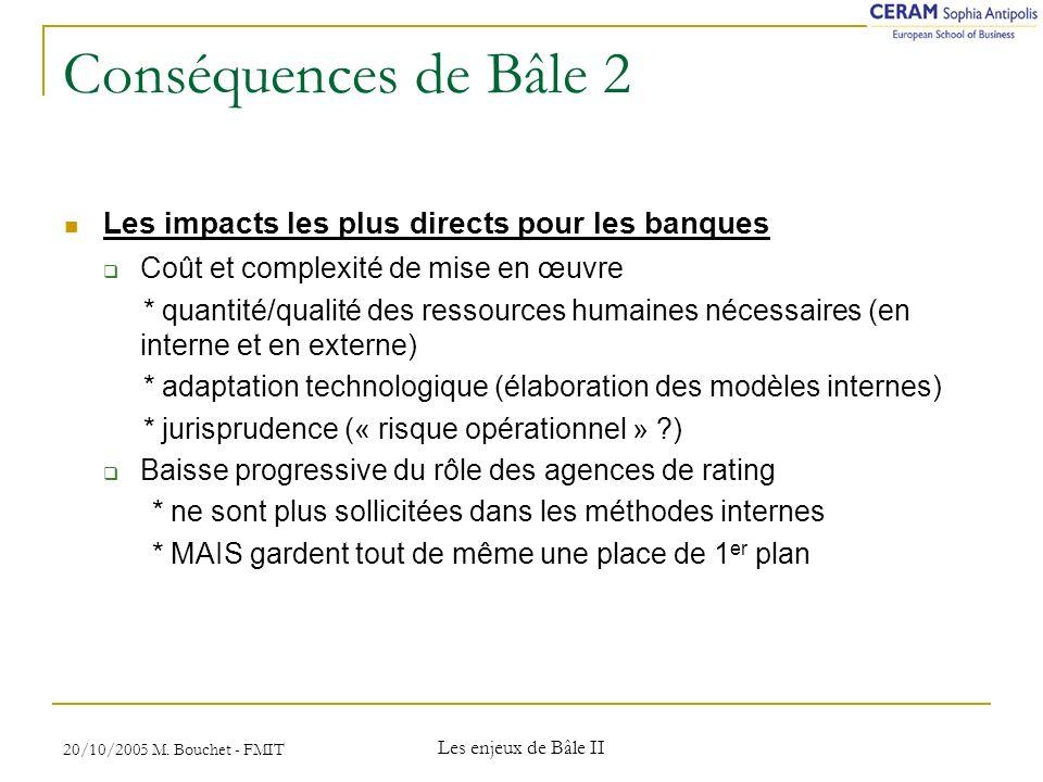 Conséquences de Bâle 2 Les impacts les plus directs pour les banques