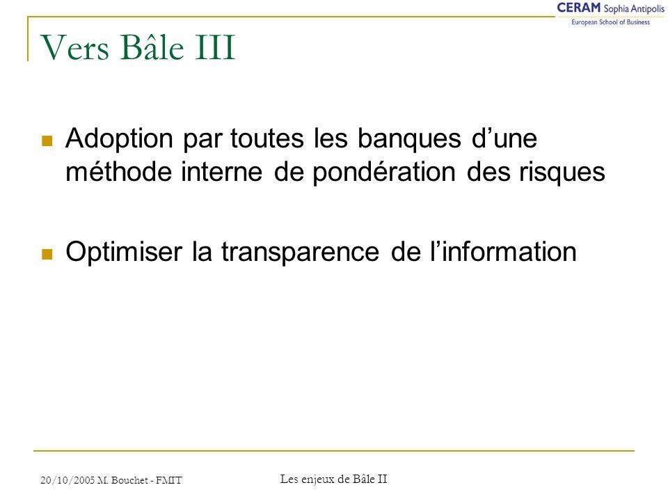 Vers Bâle III Adoption par toutes les banques d'une méthode interne de pondération des risques. Optimiser la transparence de l'information.