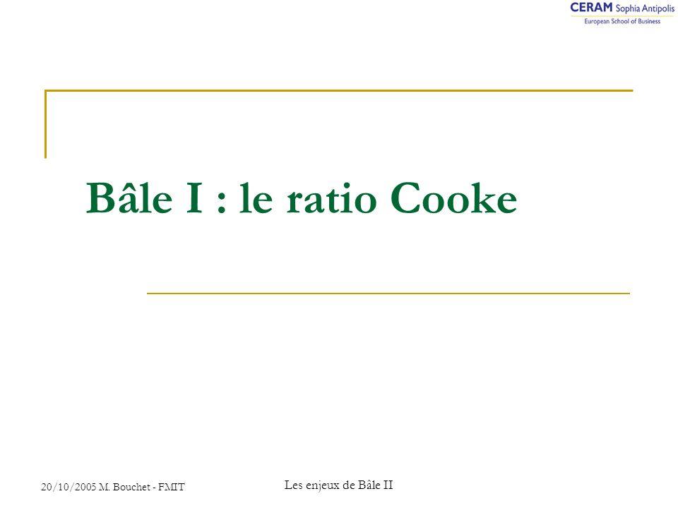 Bâle I : le ratio Cooke Les enjeux de Bâle II