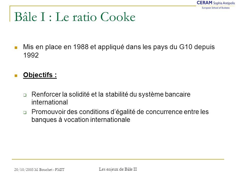 Bâle I : Le ratio Cooke Mis en place en 1988 et appliqué dans les pays du G10 depuis 1992. Objectifs :