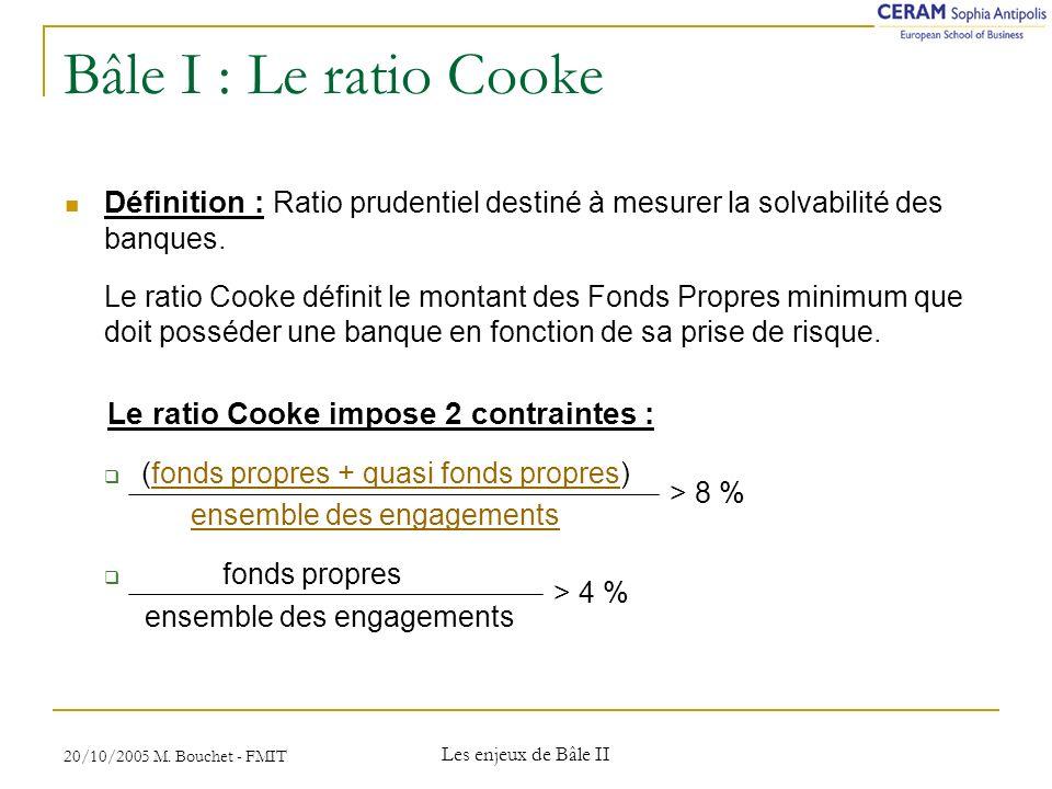 Bâle I : Le ratio Cooke Définition : Ratio prudentiel destiné à mesurer la solvabilité des banques.