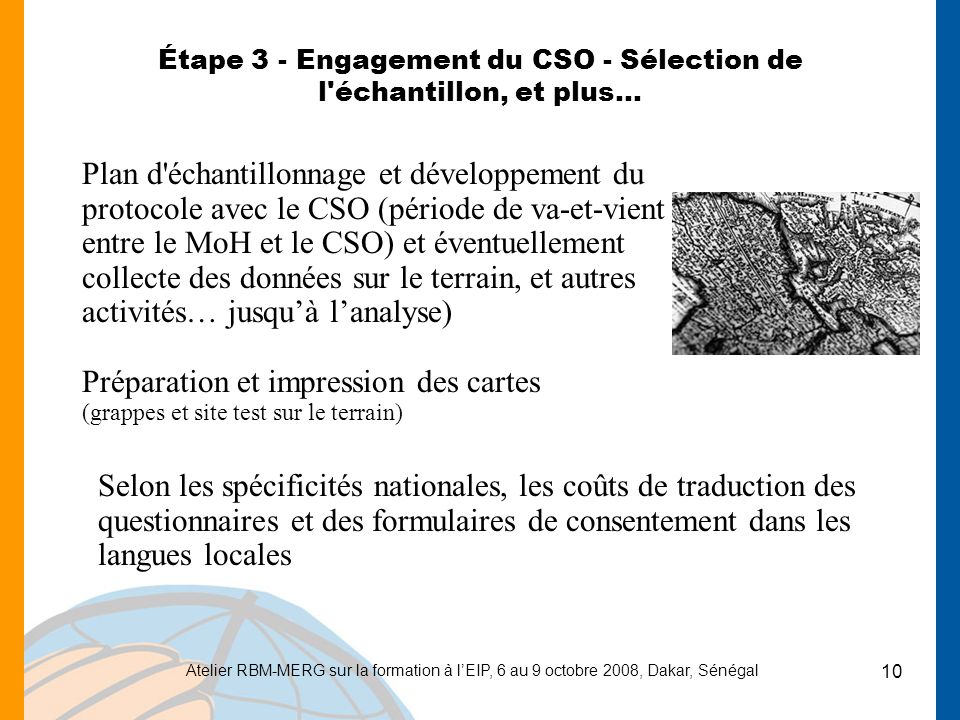Étape 3 - Engagement du CSO - Sélection de l échantillon, et plus…