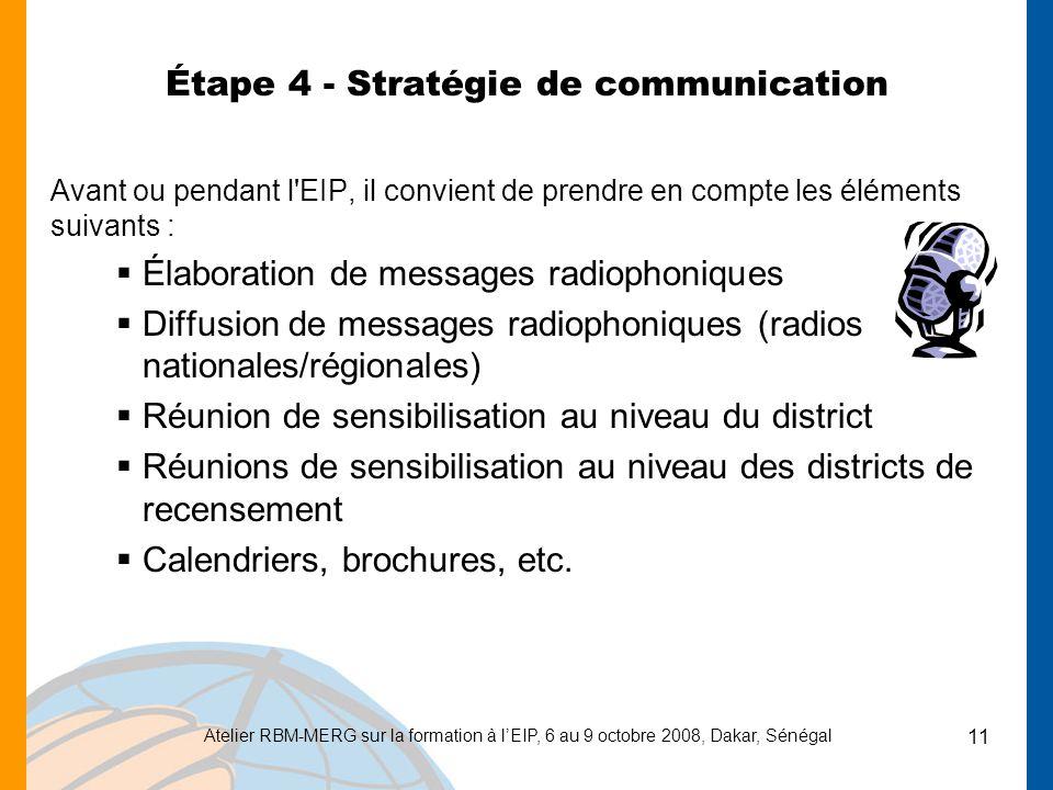 Étape 4 - Stratégie de communication