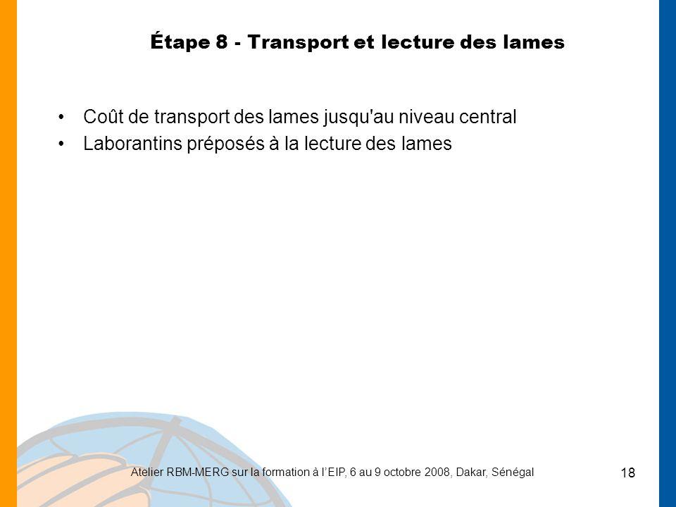 Étape 8 - Transport et lecture des lames