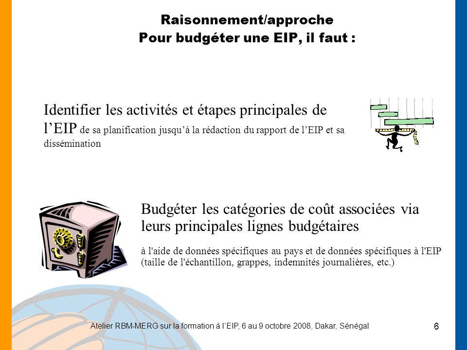Raisonnement/approche Pour budgéter une EIP, il faut :
