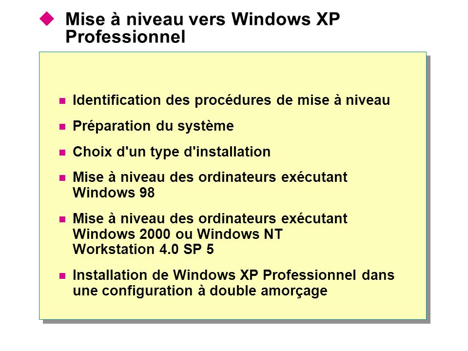 Mise à niveau vers Windows XP Professionnel