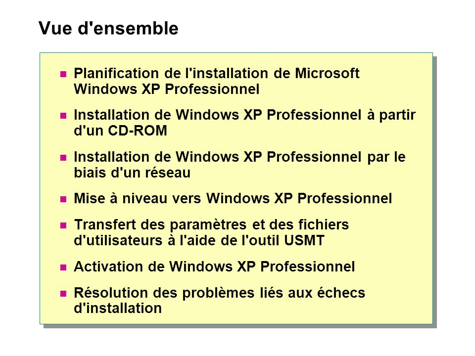 Vue d ensemble Planification de l installation de Microsoft Windows XP Professionnel.