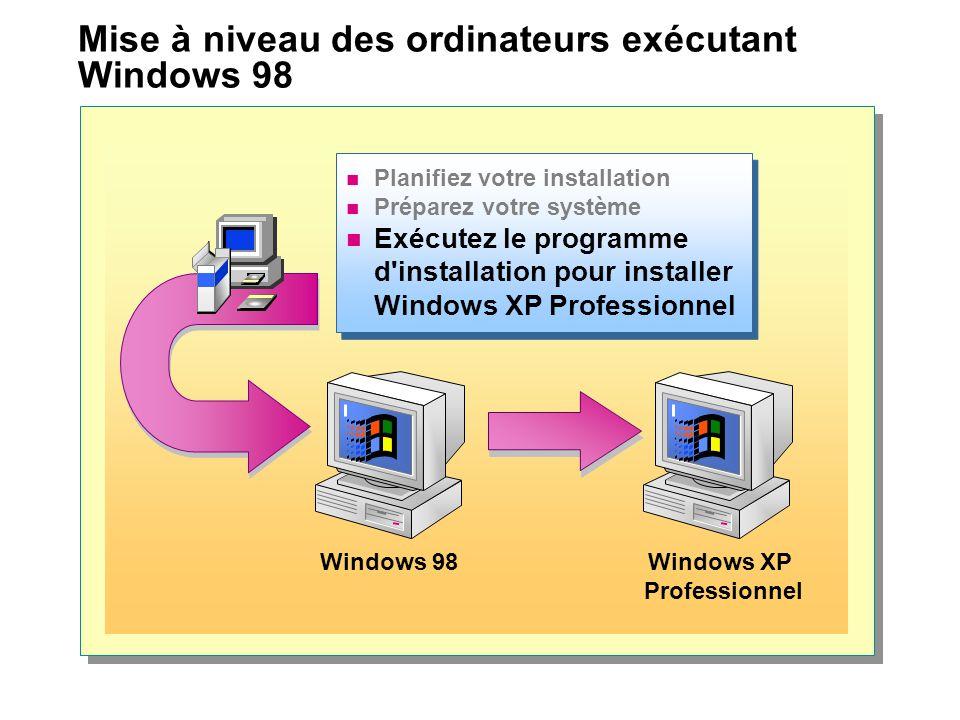 Mise à niveau des ordinateurs exécutant Windows 98
