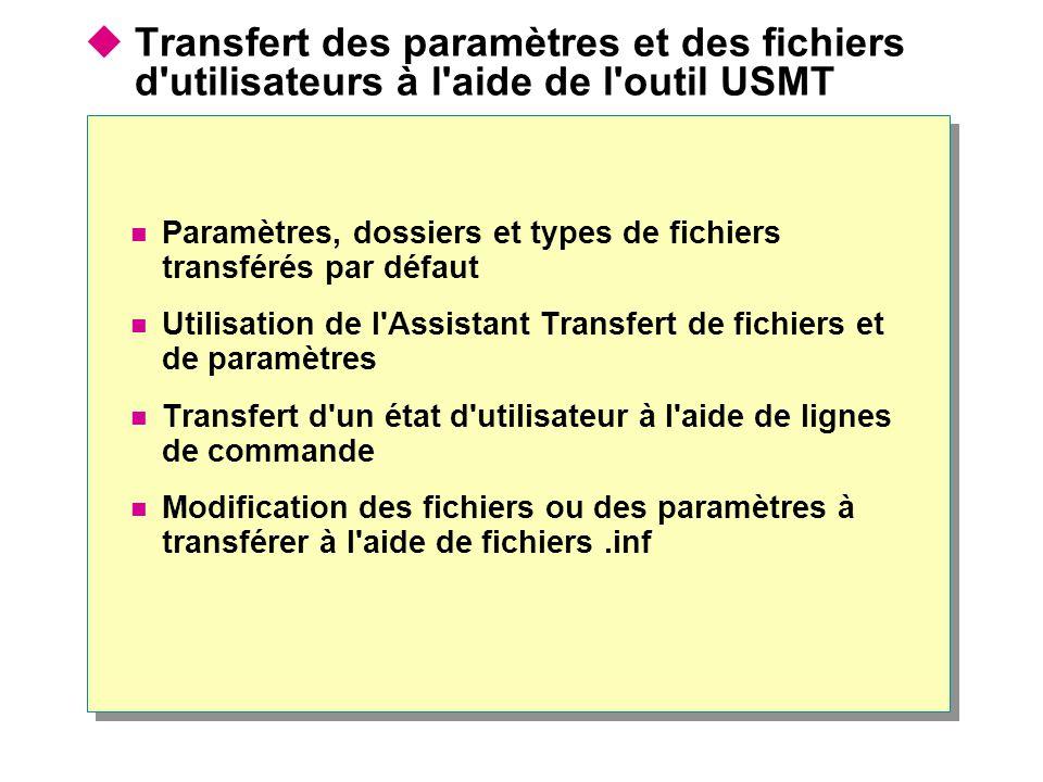 Transfert des paramètres et des fichiers d utilisateurs à l aide de l outil USMT