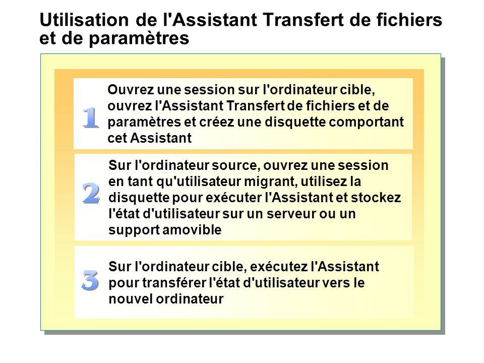 Utilisation de l Assistant Transfert de fichiers et de paramètres
