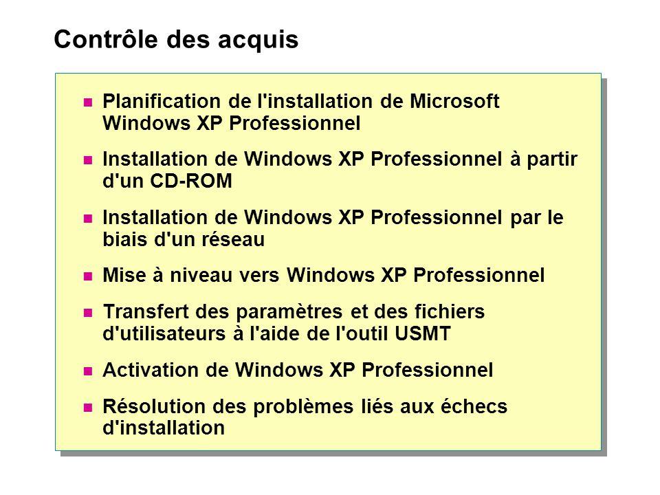 Contrôle des acquis Planification de l installation de Microsoft Windows XP Professionnel.