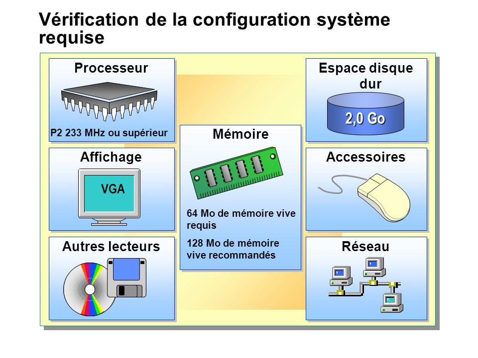 Vérification de la configuration système requise
