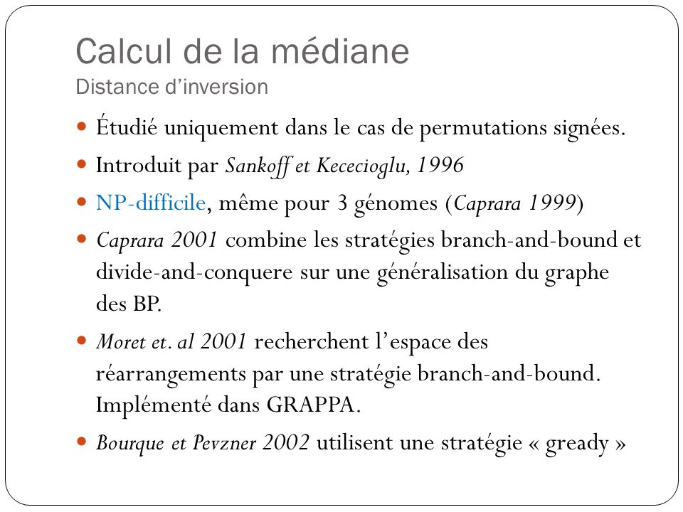 Calcul de la médiane Distance d'inversion