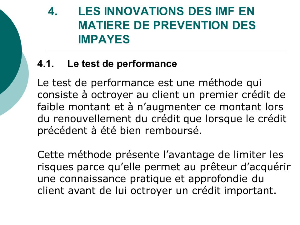 4. LES INNOVATIONS DES IMF EN MATIERE DE PREVENTION DES IMPAYES
