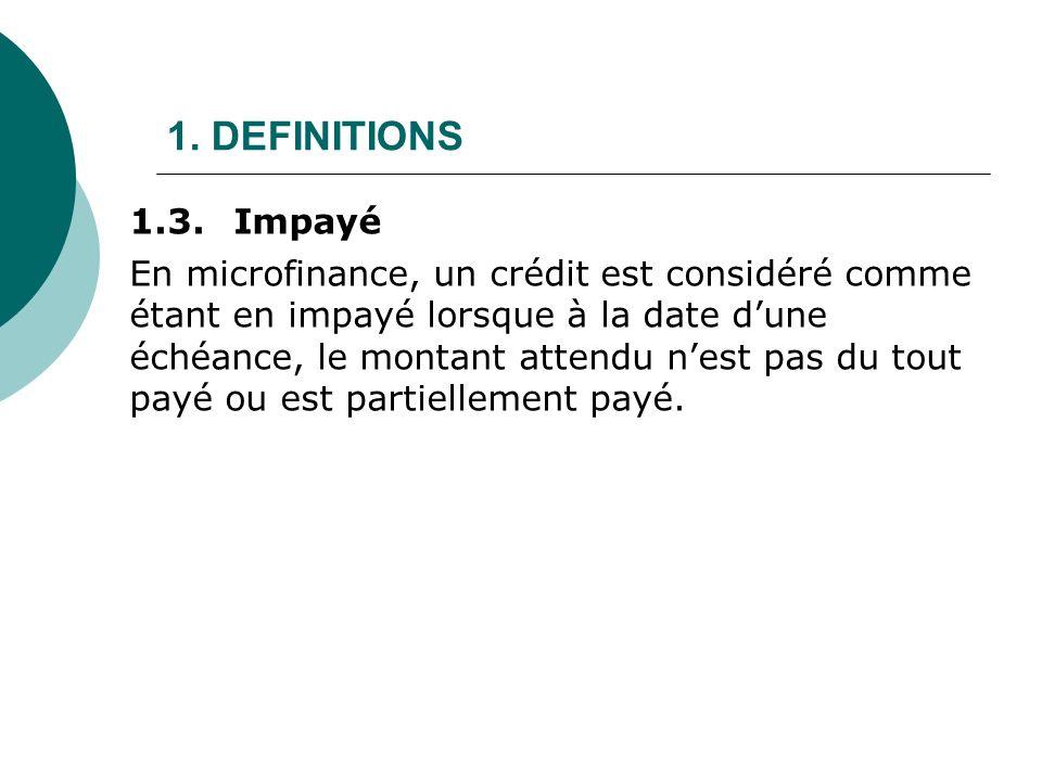 1. DEFINITIONS 1.3. Impayé.