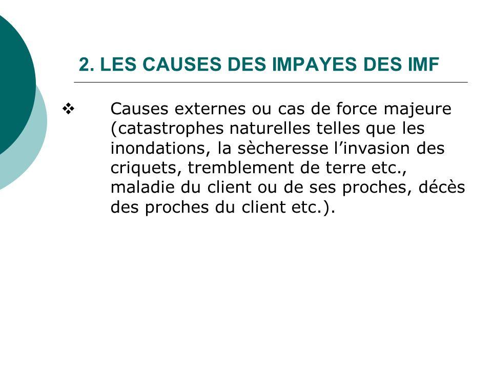 2. LES CAUSES DES IMPAYES DES IMF