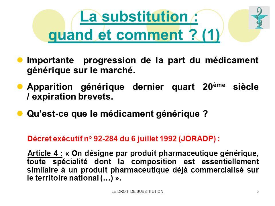 La substitution : quand et comment (1)