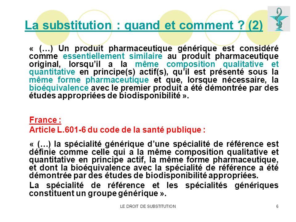 La substitution : quand et comment (2)