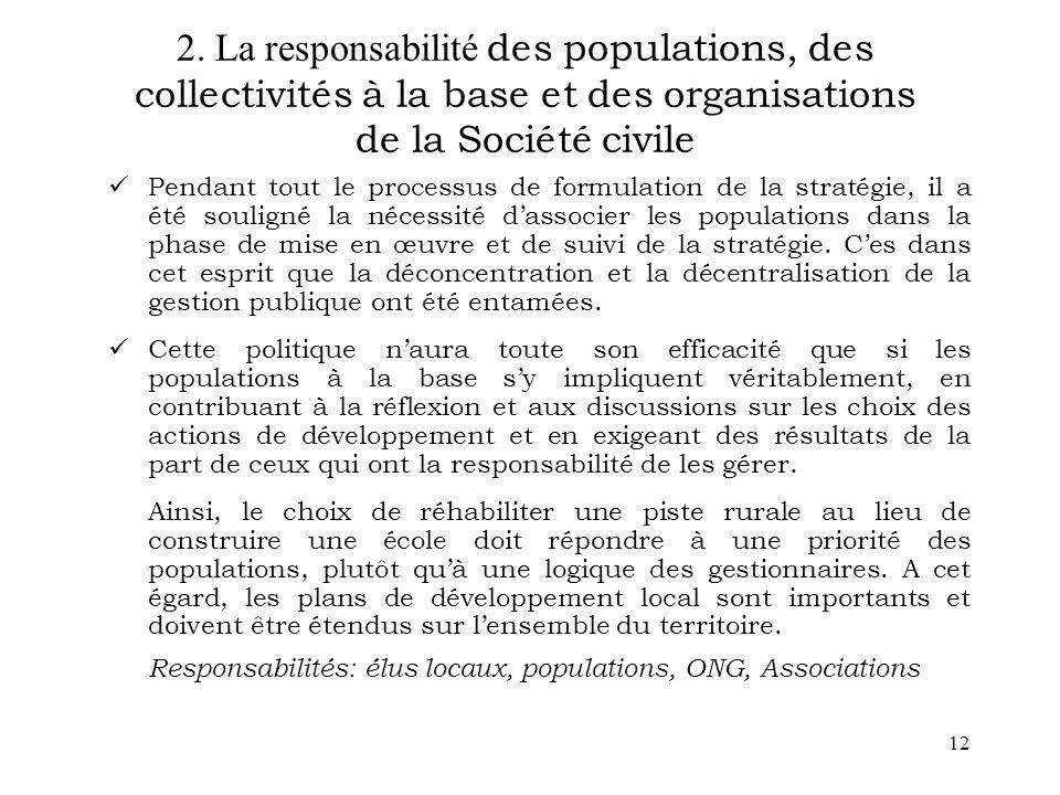 2. La responsabilité des populations, des collectivités à la base et des organisations de la Société civile
