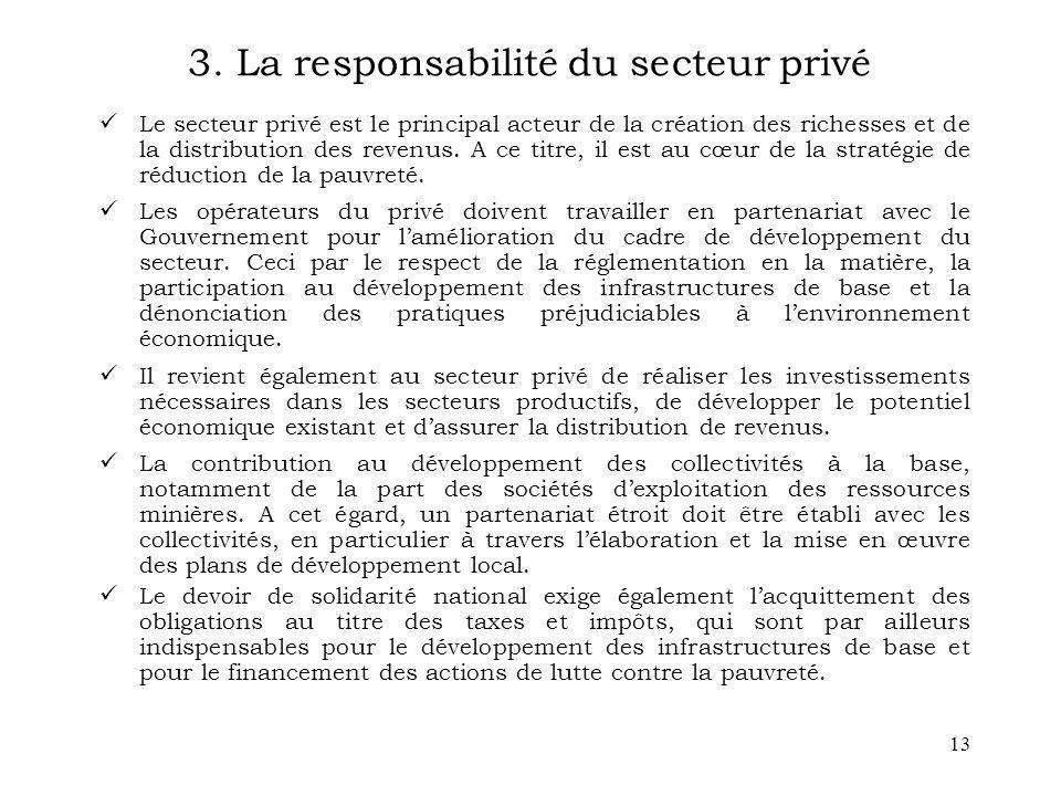 3. La responsabilité du secteur privé