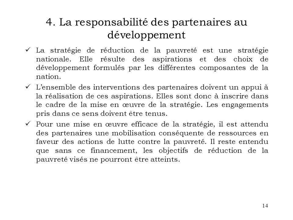 4. La responsabilité des partenaires au développement